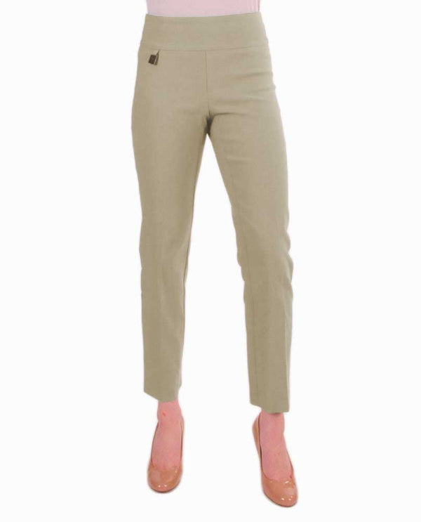 Raffinalla P411-70 Ankle Pants in beige feature a tummy control waistband to hold you in