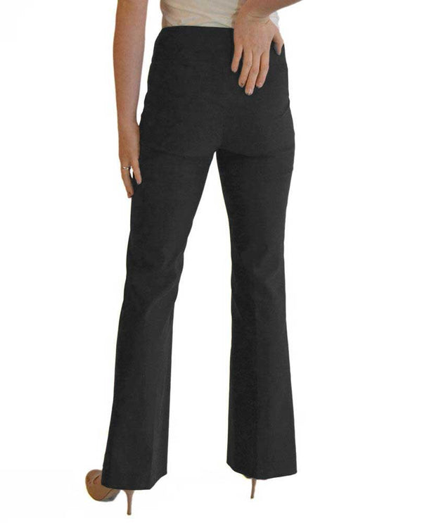 Back of Raffinalla P412-70 Boot Cut Pull On Pants in charcoal with tummy panel to keep you slim