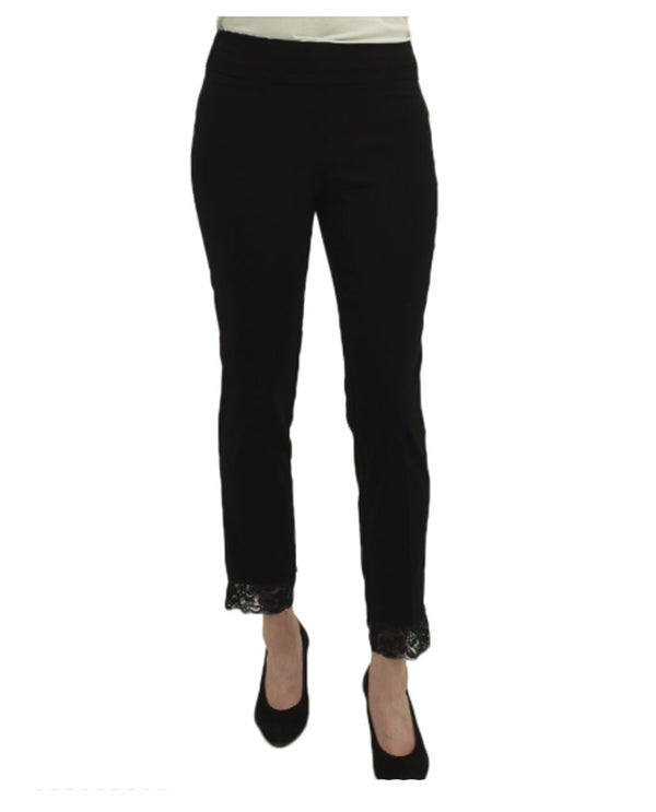 Renuar R1842CL Paris Lace Hem Pants Black are pull on pants with lace around the bottom
