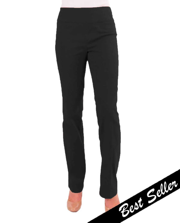 Renuar R1417 Petite Straight Leg Slimming Pants Black