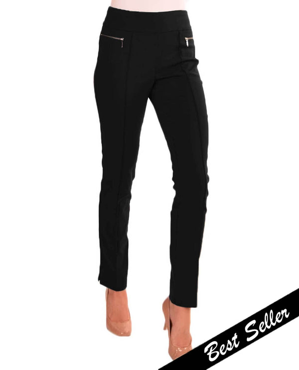 Renuar R1472 Pull On Skinny Cigarette Pants Black Banner