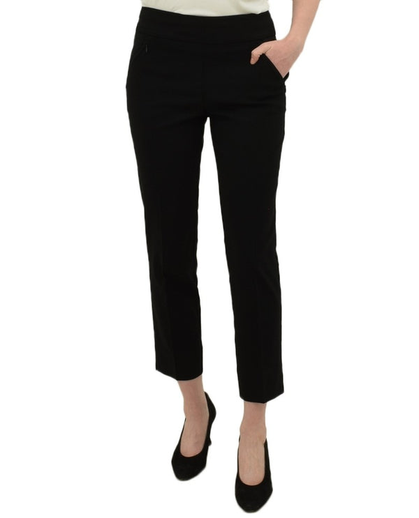 Black Renuar R1772 Pull On Ankle Pants with stretch have zip pockets, slit detail, tapered pant legs
