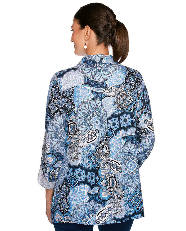 Ruby Rd 36742 Paisley Tile Navy Print