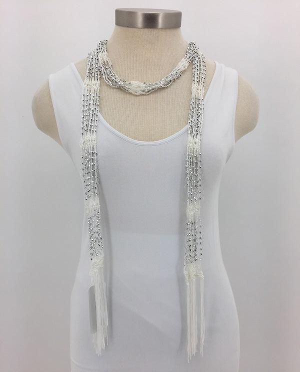 White Beaded Scarf