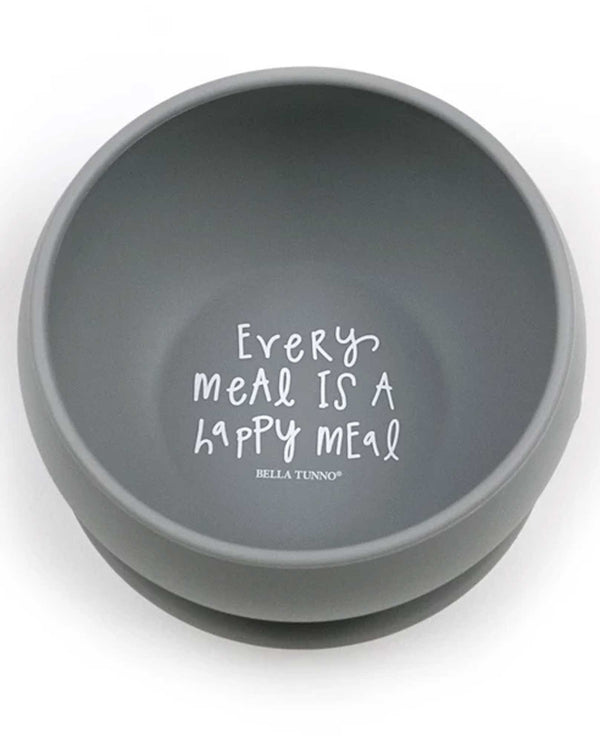 Bella Tunno SB09 Every Meal Is a Happy Meal Wonder Bowl grey silicone toddler bowl