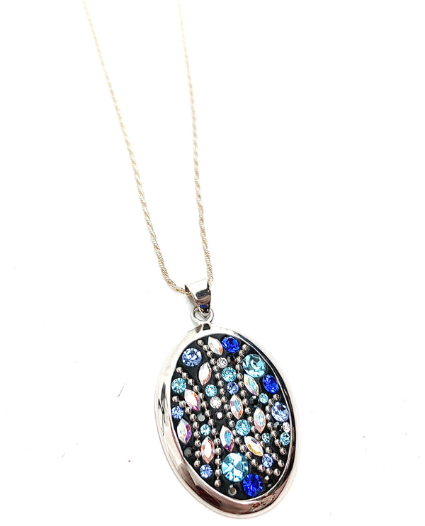 Mediterranean Artists SHPS3861SX Sterling Silver Blue Oval Pendant