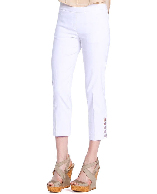 SlimSation M9038 Solid Crop Pants White
