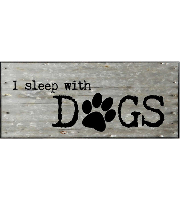 Second Nature By Hand RG146SLEEP Sleep with Dogs Steel and Wooden Sign