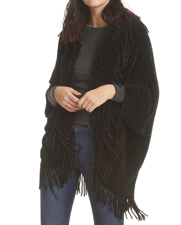 One Size Chenille Shrug Sweater With Fringe Black
