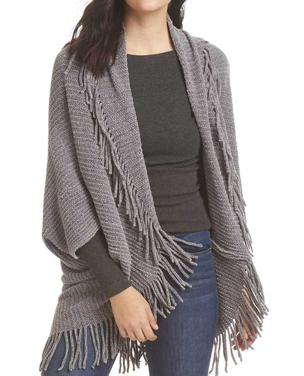Shrug with Fringe Grey