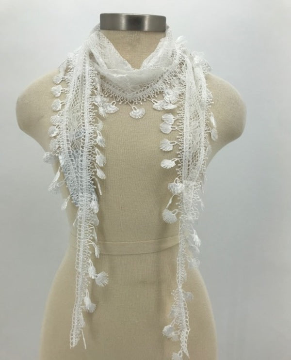 White Rose Lace Trim Scarf 1094