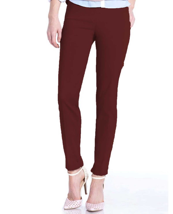 Slim Sation Pull On Pants Bordeaux