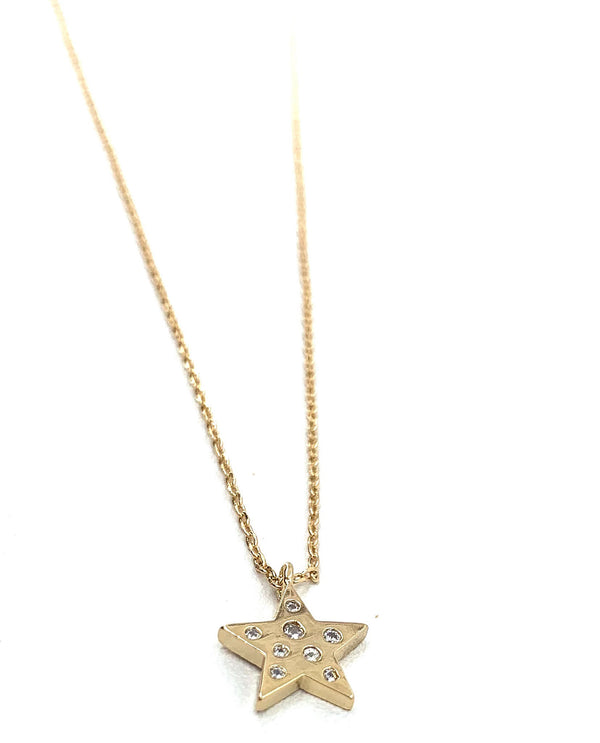 Small Star with Stones Necklace gold