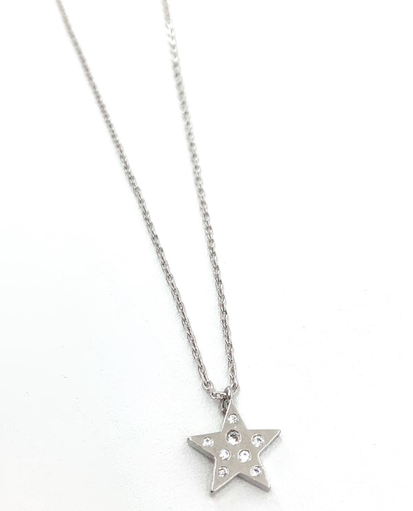 Small Star with Stones Necklace silver