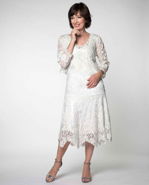 7c8a8a37595 ... Soulmates 1501 2 Piece Lace Dress ivory mother of the bride dress with  matching jacket