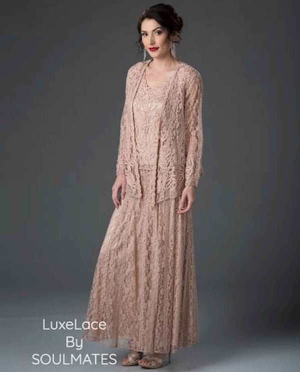 Soulmates 1602 Soutache 3 Piece Dress dusty rose pink three piece mother of the bride dress set