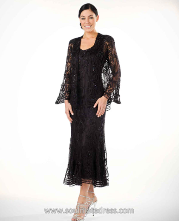 Soulmates C1068X Women's Lace Dress Set black lace crochet mother of the bride dress set