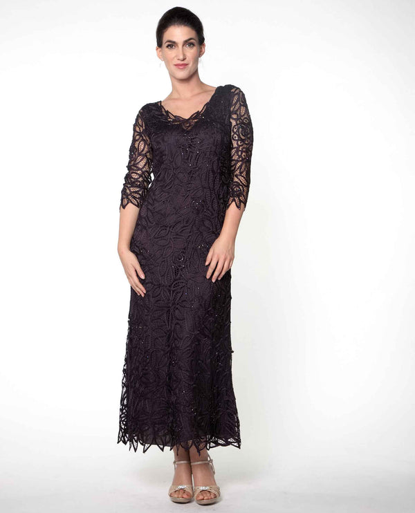 Aubergine Soulmates C904 Long Sleeve Lace Dress 3/4 lace sleeve mother of the bride dress