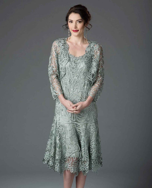 Soulmates C9126 Tea Length Lace Dress sage green lace mother of the bride dress with jacket