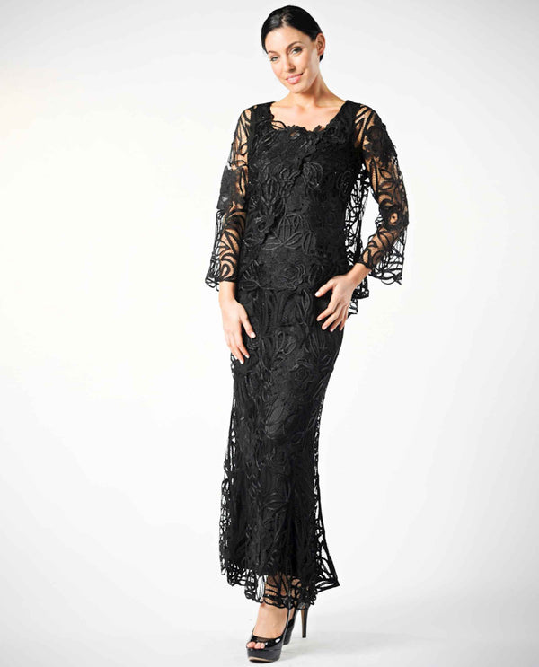 Soulmates D1104 Three Piece Crocheted Set black mother of the bride dress set