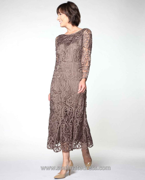 Soulmates D1423 Tea Length Lace Dress mocha brown mother of the bride dress with matching jacket