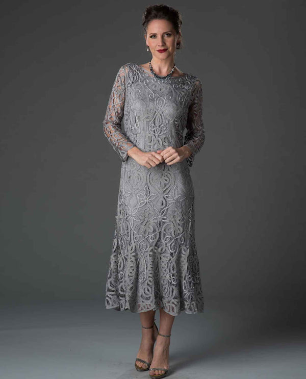 Soulmates D1423 Tea Length Lace Dress pewter mother of the bride dress with matching jacket