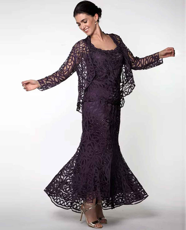 Soulmates D9130 3 Piece With Bolero eggplant dark purple lace three piece skirt set