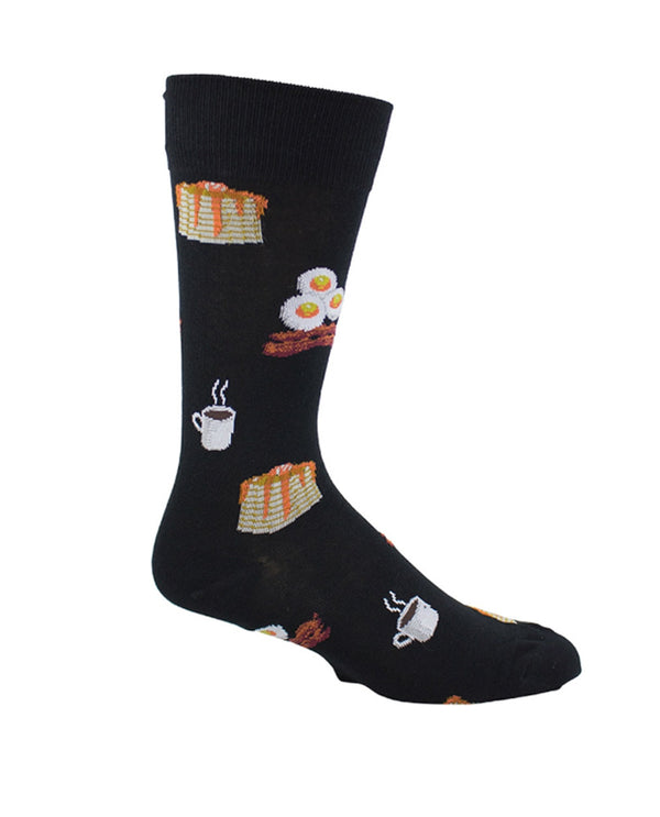 Black Mens Big Breakfast Socks MN19013 with bacon, eggs, coffee and pancakes