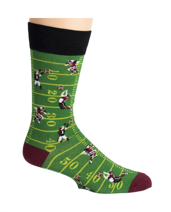 Green crew Mens Football Socks with football field and players