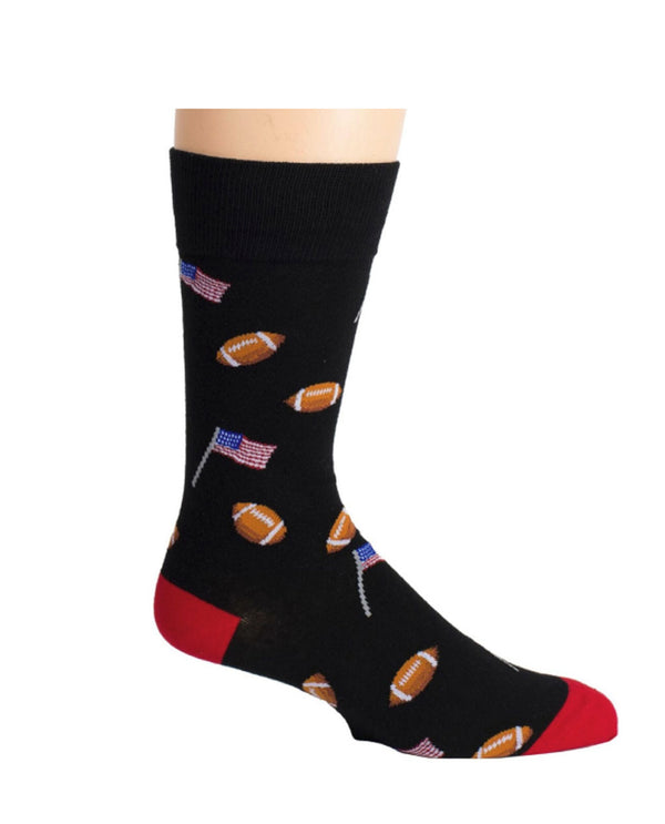 Black Men's Football & Flags Socks featuring footballs and American flags