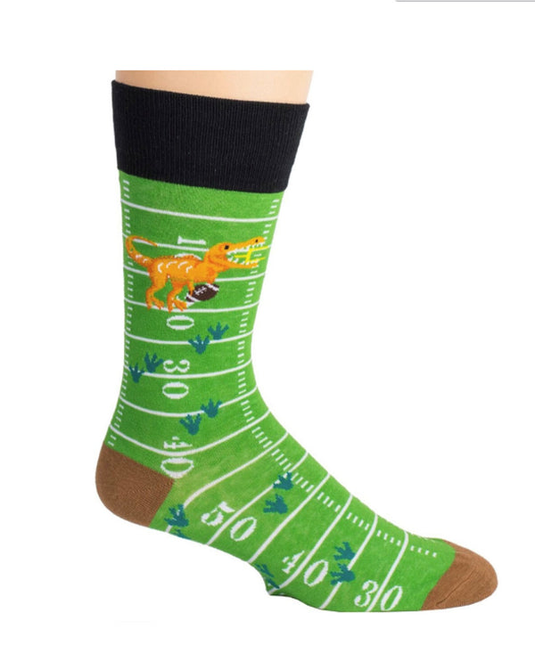 Green Mens T-Rex Football Socks MN20177 with a t-rex running around the field