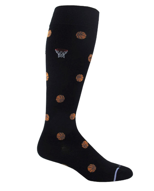 Black Mens Basketball Socks ZM18144 with basket balls and hoop