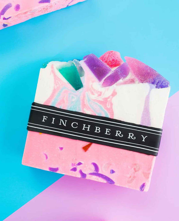 FinchBerry Spark Soap handmade vegan soap with colorful marbled design and fruity scent