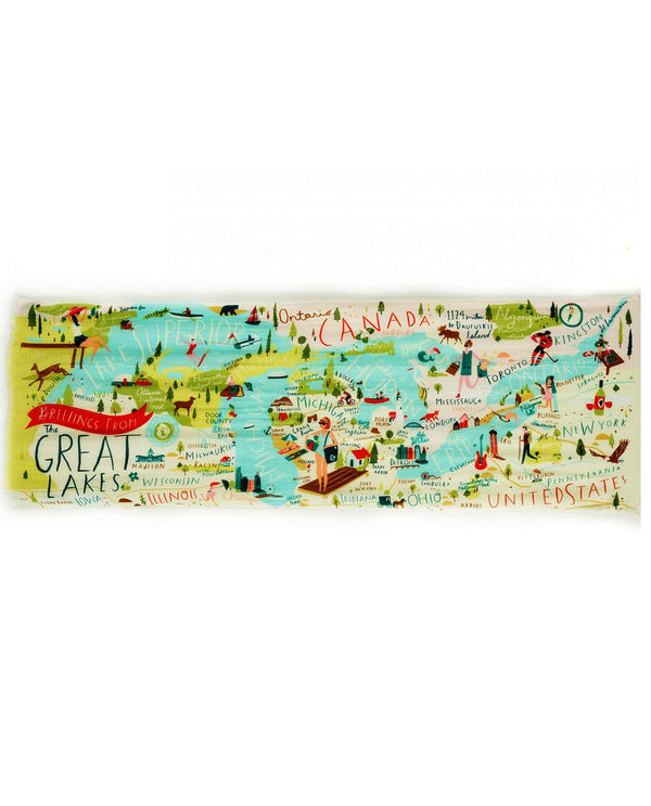 Spartina 449 954452 Great Lakes Scarf lightweight scarf that showcases the tourist spots