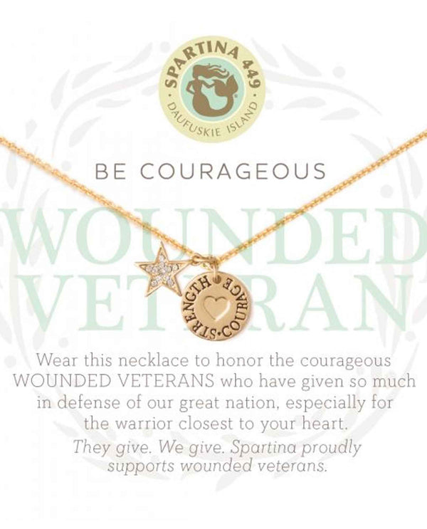 Vet Spartina 502085 Wounded Warrior Necklace gold mini dog tag necklace for wounded veterans.