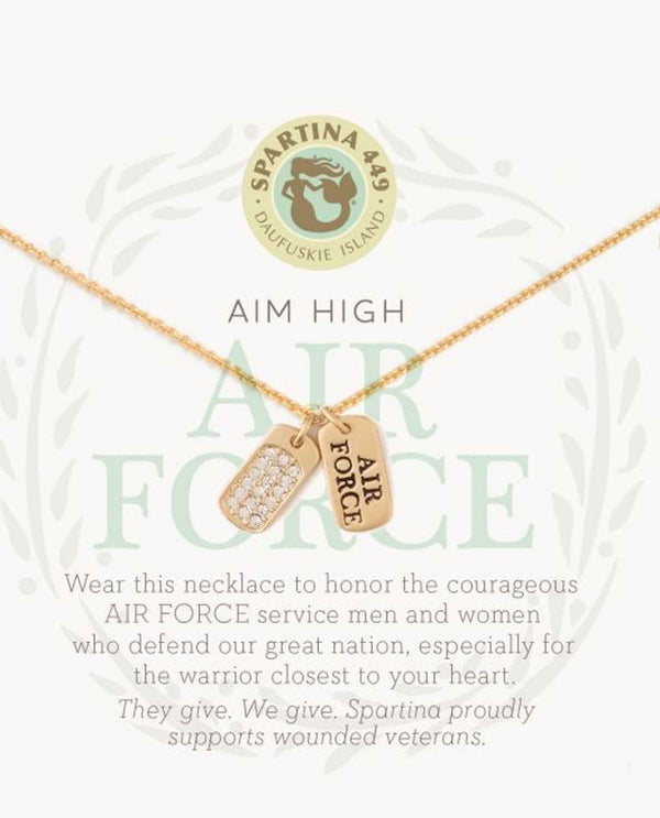 Spartina 502115 MFM Air Force gold air force dog tag necklace