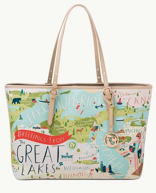 Spartina 954414 Great Lakes Small Tote canvas tote with a map of the Great Lakes region
