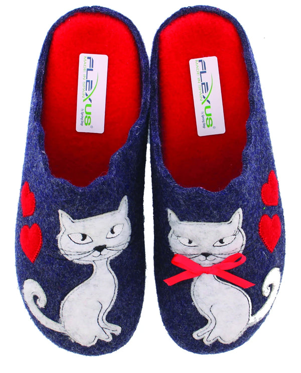 Spring Step Cat Wool Indoor/Outdoor Slippers Navy