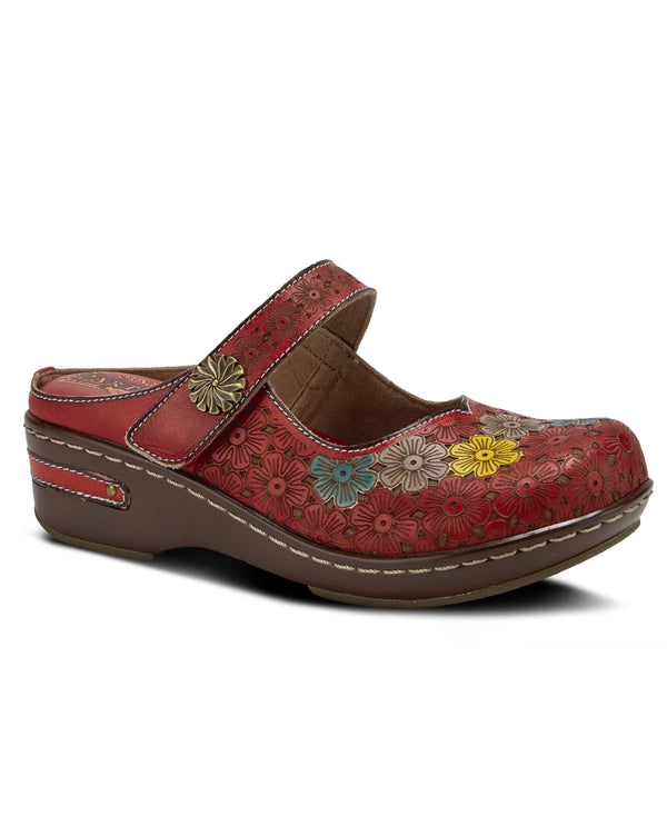 Spring Step Clog with Flowery Upper Red
