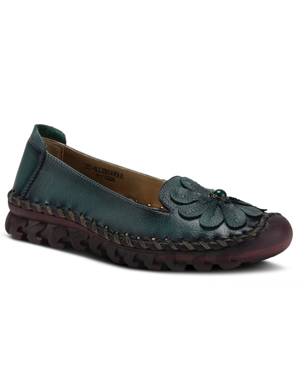Spring Step Comfort Shoe with Flower Teal