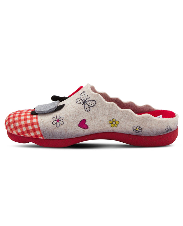 Spring Step Dog Wool Indoor/Outdoor Slipper Red