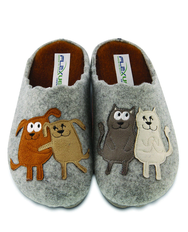 Spring Step Dogs Wool Indoor/Outdoor Slipper Grey