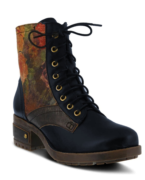 Spring Step Floral Lace Up Boot Navy