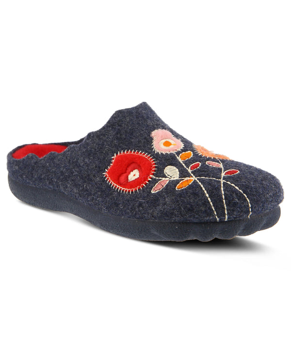 Spring Step Floral Wool Indoor/Outdoor Slippers Navy