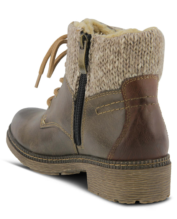 Spring Step Knitted Cuff Ankle Boot Brown