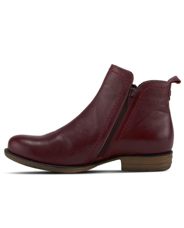 Bordeaux Spring Step Leather Zip Ankle Boot