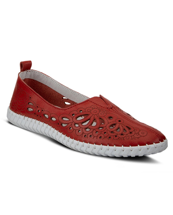 Spring Step MIRTHA Slip On Laser Cut Red