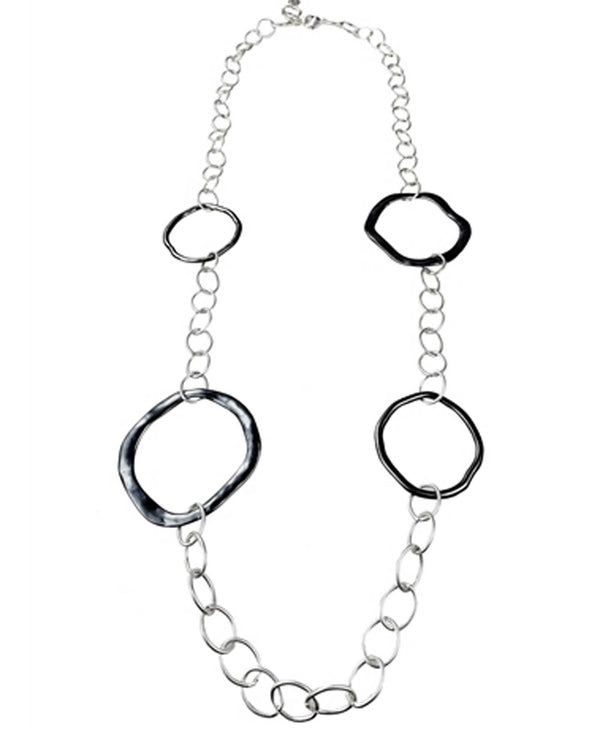 Sweet Lola N2311 Gunmetal Rings On Silver Chain Necklace