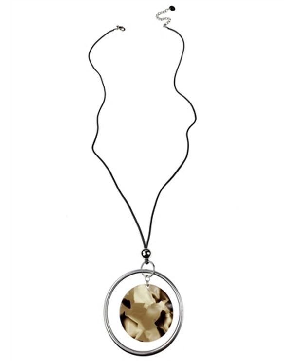 Sweet Lola N2321 Tortoise Disc On Leather Cord Necklace