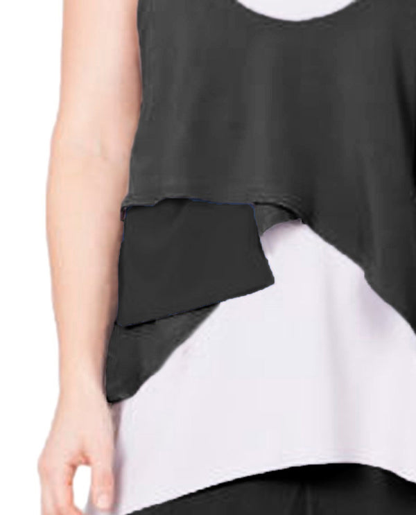 Sympli 1010 Crop Smock Pocket Black